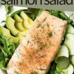 Salmon fillet on a Salad with Balsamic, avocado, and cucumber