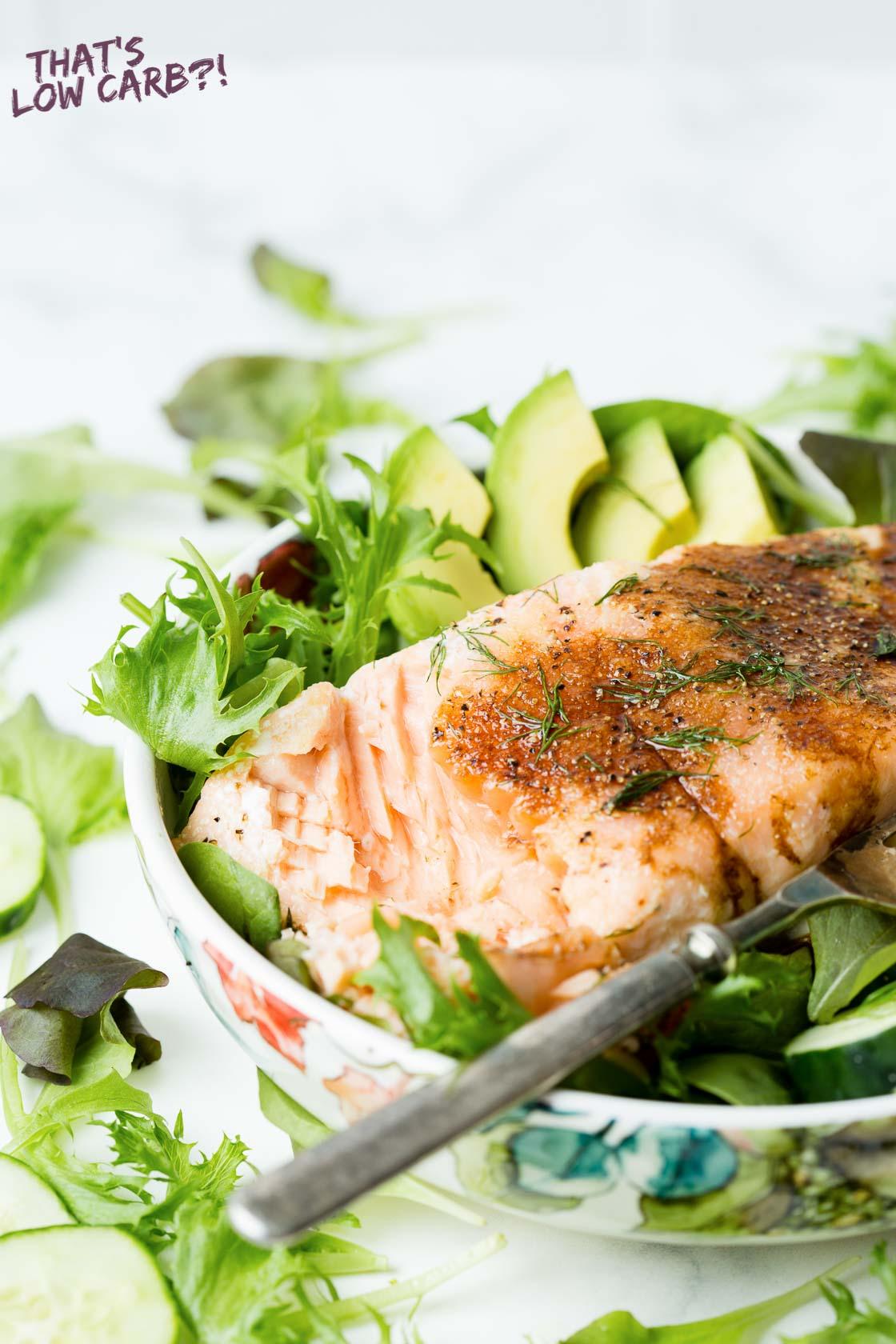 Keto Salmon Salad with Balsamic Dressing