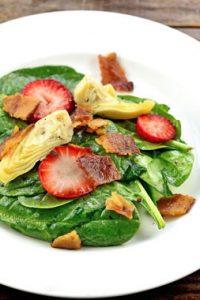 Low Carb Spinach, Strawberry, Bacon and Artichoke Heart Salad Recipe