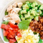 Image of low carb keto cobb salad ingredients in a bowl unmixed.