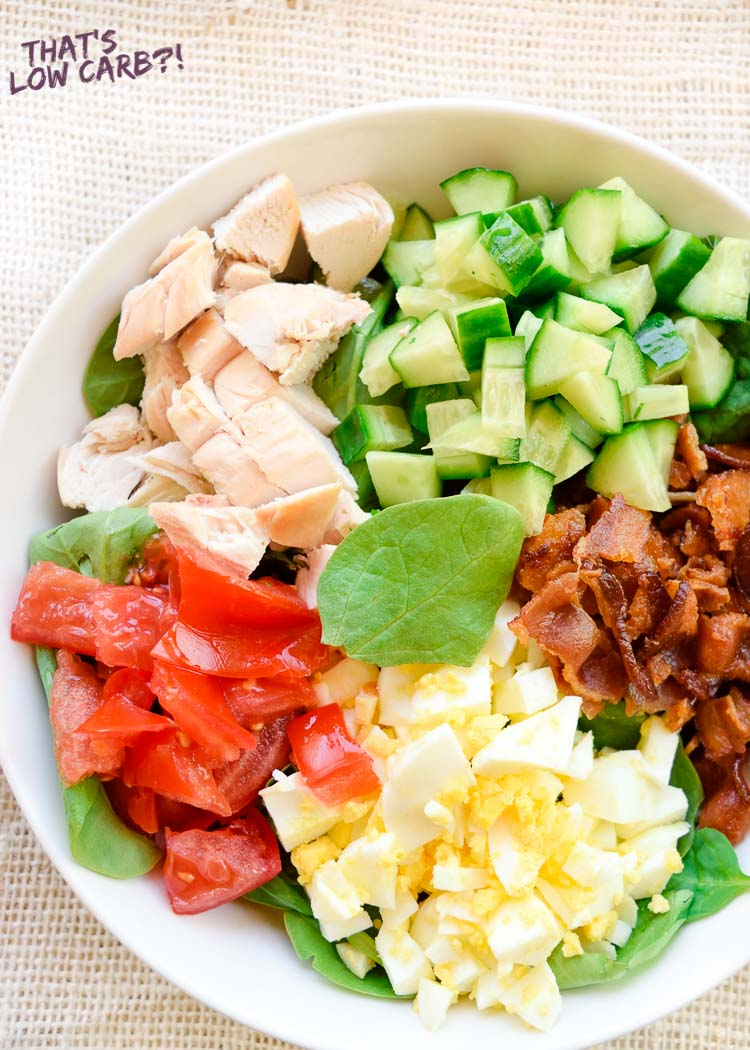 Low Carb Keto Spinach Cobb Salad Recipe