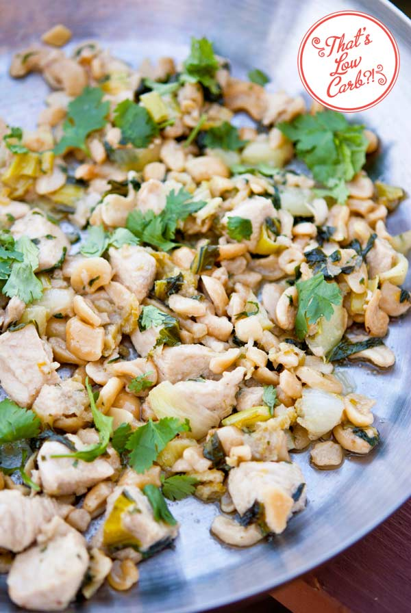 Low Carb Bok Choy Cashew Chicken Recipe, just cooked and still in the skillet.