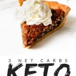 """PINTEREST IMAGE with words """"3 net carbs Keto Pecan Pie"""" with image of Keto Pecan Pie slice with whip cream on top."""