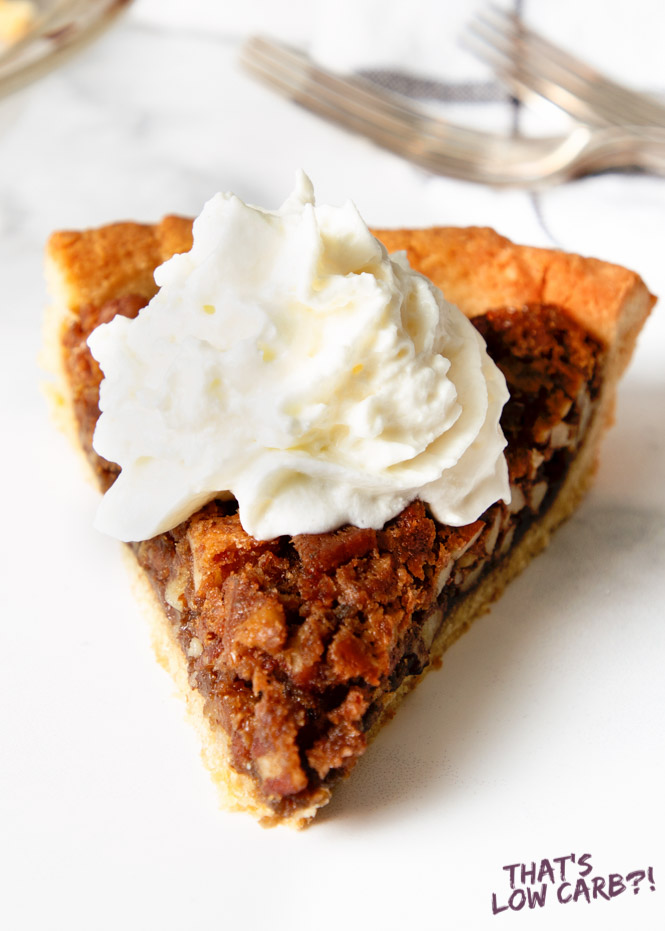Low Carb Pecan Pie Slice with Whipped Cream