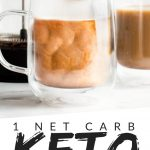 """PINTEREST IMAGE with words """"1 net carb Keto Pumpkin Spice Latte"""" with image of Keto Pumpkin Spice Latte in clear glass mugs with milk being poured in."""