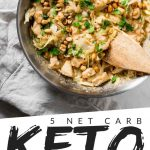 """PINTEREST IMAGE with words """"5 net carb Keto Thai Chicken"""" with image of Keto Thai Chicken in a silver bowl."""