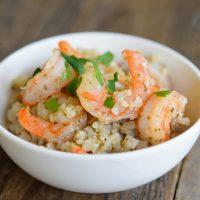 Low Carb Cauli-Rice and Shrimp over rice.