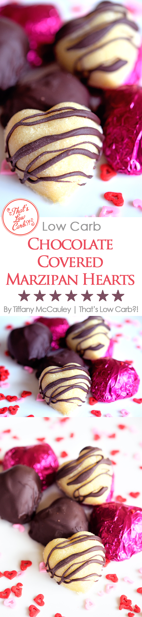 Low Carb Chocolate Covered Marzipan Hearts Recipe Pinnable Image.