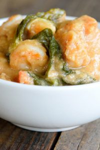 Low Carb (Keto) Shrimp Bok Choy with Peanut Sauce Recipe