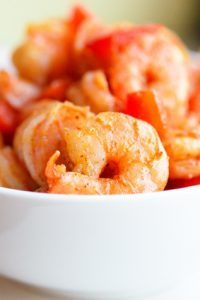 Southwestern Low Carb Shrimp in a white bowl.