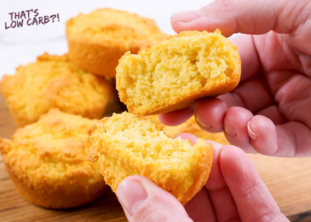 Picture of pulling low carb cornbread muffins apart into to sections