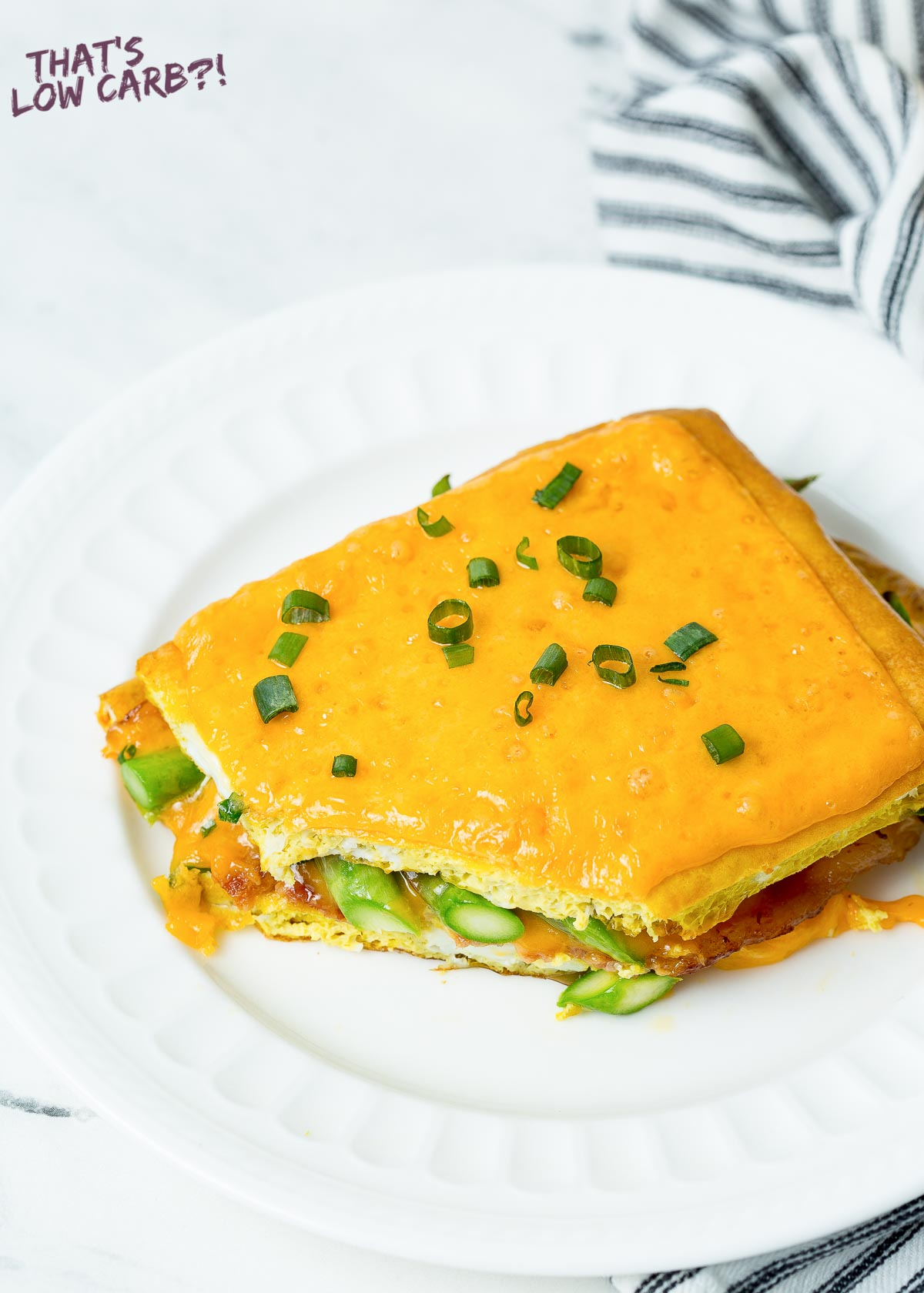 Slice of Breakfast lasagna on white plate