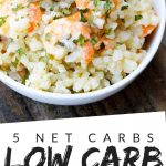 "PINTEREST IMAGE with words ""5 net carbs Low Carb Shrimp Scampi"" with image of keto Low Carb Shrimp Scampi in a white bowl."