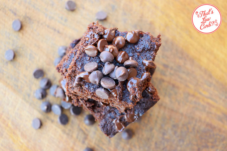 Low carb brownies shown from the top with chocolate chips sprinkled over them.