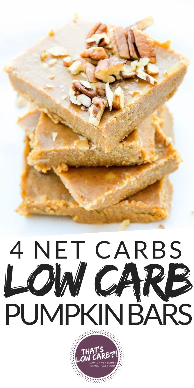Keto Low Carb Pumpkin Bars to kick off this holiday season. All your favorite pumpkin pie flavors back into a easy low carb snack bar. #lowcarb #keto #lowcarbrecipes #ketorecipes #ketodessert #pumpkinbars #pumpkinfudge #recipes #4netcarb #ketopumpkin #lowcarbpumpkin
