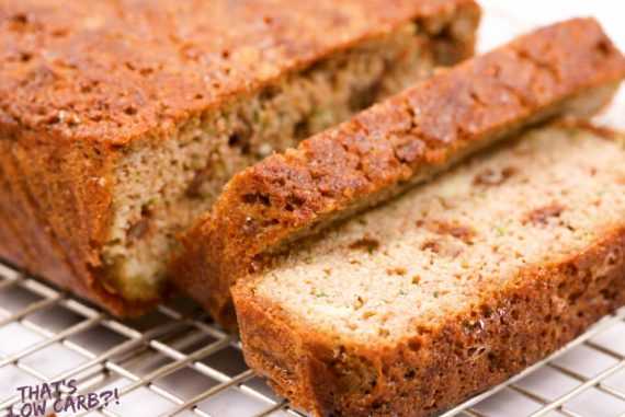 Up close shot of keto zucchini bread with two slices
