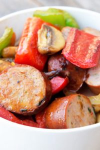 Image of Low Carb Sausage and Vegetables in a white bowl.
