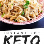 """PINTEREST IMAGE with words """"instant pot keto curry chicken"""" with an image of keto instant pot curry chicken on a red plate."""