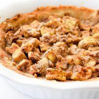 Image of keto mock apple pie in white pie pan.