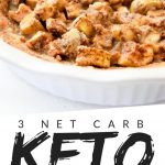 """PINTEREST IMAGE with words """"3 net carb keto mock apple pie"""" with image of keto mock apple pie in a white pie pan."""