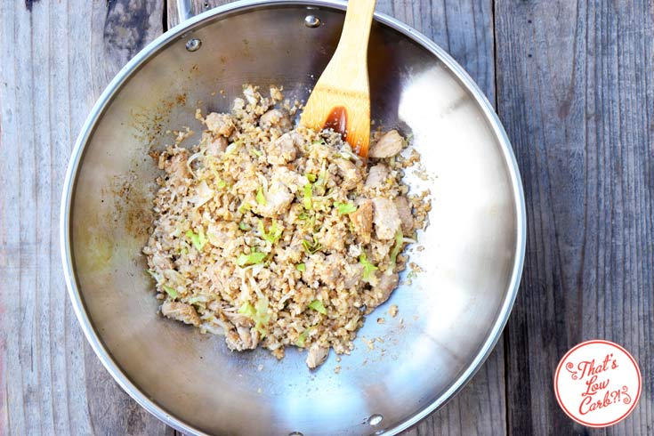 Low Carb Chinese Chicken Fried Rice Recipe shown from overhead, looking down into the skillet.