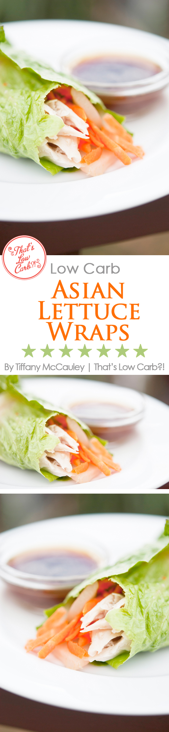 Low Carb Asian Style Lettuce Wraps Recipe pinnable graphic.