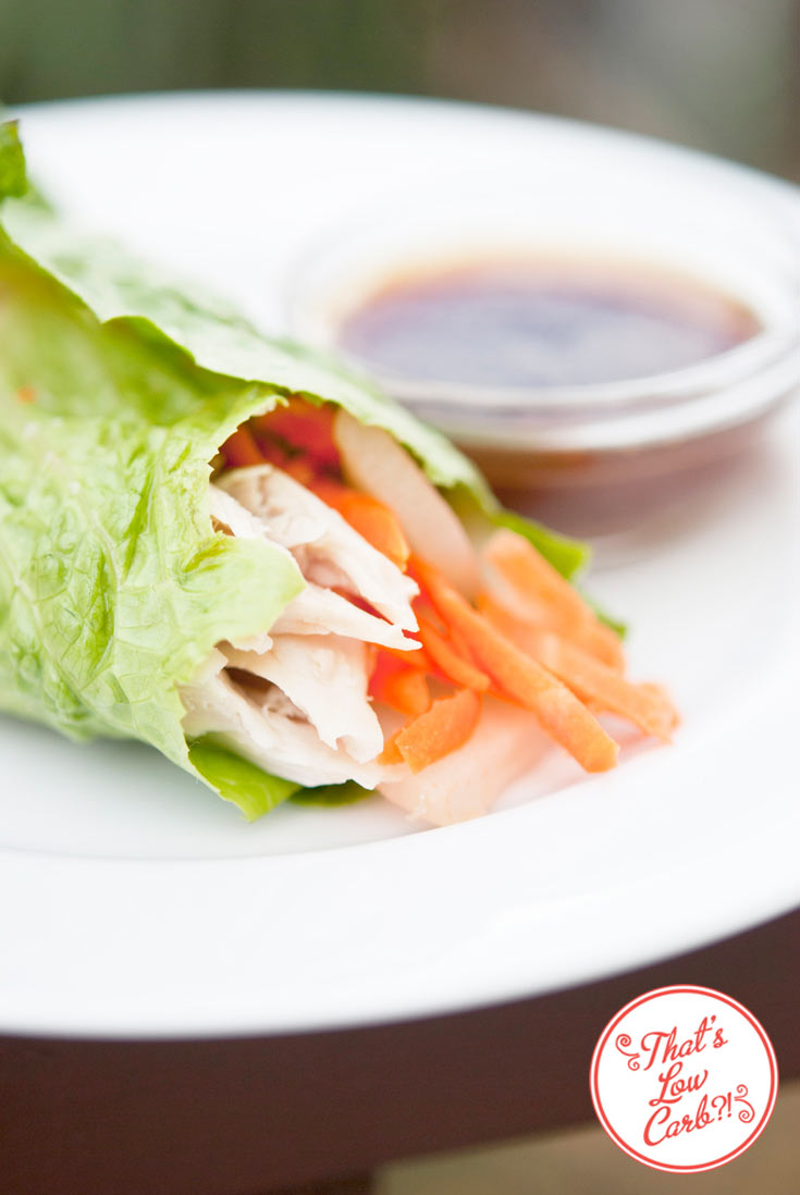 Low Carb Asian Style Lettuce Wraps Recipe shown on a white plate. The wrap is open at one end and shows the shredded chicken and carrots poking out with a small bowl of dipping sauce in the background.
