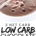 "PINTEREST IMAGE with words ""3 net carb Low Carb Chocolate Fondue"" image of Low Carb Chocolate Fondue with a raspberry that has been dipped held over on a two prong fork."