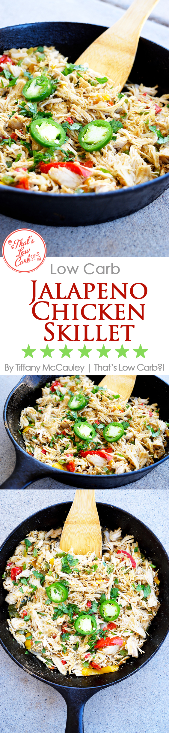 Low Carb Jalapeno Pepper Chicken Skillet Pinnable image for Pinterest.