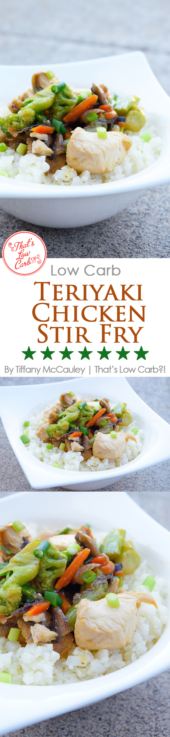 Low Carb Teriyaki Chicken Stir Fry Pin Graphic For Pinterest. Pin this image to save this recipe to your favorite boards!