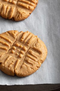 Image of Low Carb Keto Peanut Butter Cookie on a baking sheet.