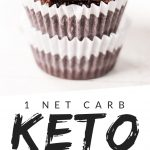 """PINTEREST IMAGE with words """"1 net carb keto pb cups"""" with image of Keto Peanut Butter Cups stacked with top one missing a bite."""