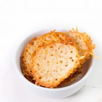 Low Carb, keto Cheese Chips in a small white bowl.