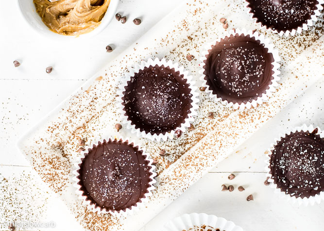 Keto Peanut Butter Cups recipe on white plate