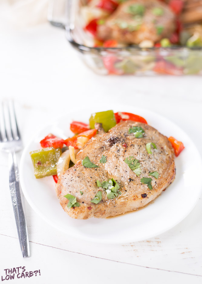 Low Carb Baked Pork Chops and Peppers Recipe