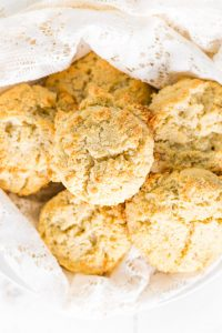 Image of Low Carb Drop Biscuits in a pile on a white plate.