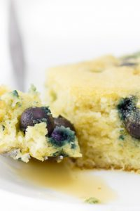 Image of Keto Almond Flour Pancakes Casserole with blueberries square.