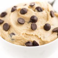 Image of Keto Cookie Dough with chocolate chips in a white bowl.