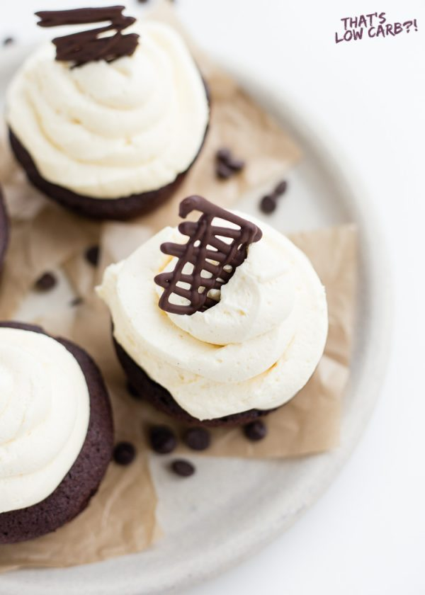 Image of Low Carb Keto Cream Cheese Frosting on chocolate cupcakes.