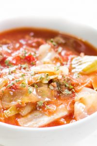 Image of low carb Unstuffed Cabbage Roll Soup in a white bowl.