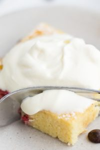 Image of Low Carb Keto Whipped Cream on top of a small cake square.