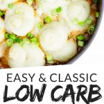 """PINTEREST IMAGE with words """"easy & classic low carb shepherd's pie"""" with image of Keto Low Carb Shepherd's Pie in a skillet with green onion sprinkled on top.."""