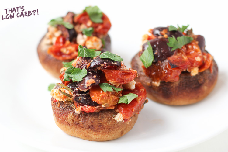 Low Carb Stuffed Mushrooms with tomato and feta