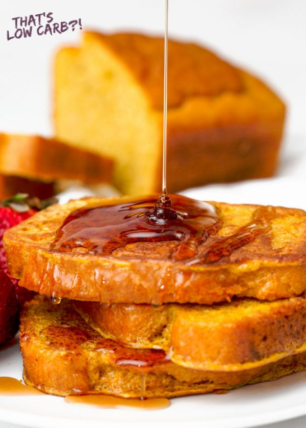 Image of Image of Keto French Toast with syrup being poured over top.