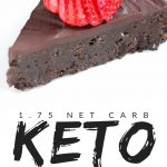 "PINTEREST IMAGE with words ""1.75 net carb Keto Flourless Chocolate Cake"" with image of Keto Flourless Chocolate Cake slice with strawberry on top."