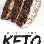 """PINTEREST IMAGE with words """"3 net carb keto chocolate cake"""" with image of Keto Chocolate Cake slice laying on it's side."""
