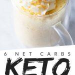 "PINTEREST IMAGE with words ""6 net carbs keto mug cake"" with image of Vanilla Keto Mug Cake in a clear glass mug with whip cream on top."