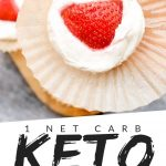 """PINTEREST IMAGE with words """"1 net carb keto cheesecake fat bombs"""" with image of keto cheesecake fat bomb being held in an opened muffin paper and a strawberry on top."""