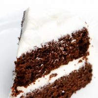 Image of a slice of Low Carb Chocolate Cake showing layers of cake and white frosting.