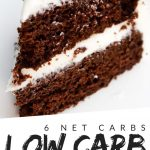 """PINTEREST IMAGE with words """"6 net carbs Low Carb Chocolate Cake"""" with image of Low Carb Chocolate Cake slice showing the layers of cake and white frosting."""